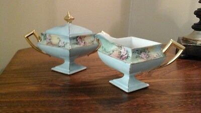 Hand Painted Porcelain Covered Sugar Bowl And Creamer- Nice Collectors Set!