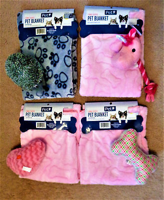 Pet Dog Fleece Blanket & Toy Set  Pink Bone Print / Gray Paw Print