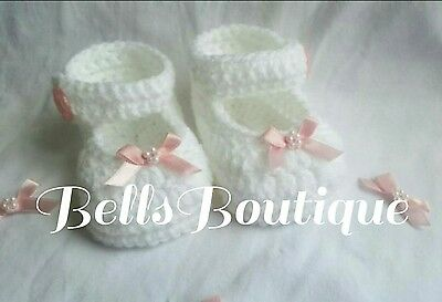 ☆BellsBoutique☆ Handmade Baby Girl / Reborn Crochet knit Booties/Shoes 0-3 month