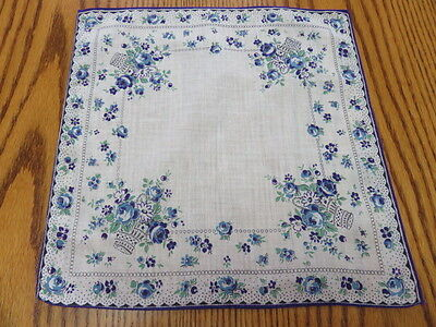 Vintage Hankie/handkerchief  - White With Blue And Purple Flowers