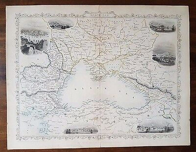 THE BLACK SEA - 1858 original Tallis map by John Rapkin