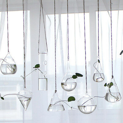 Clear Flower Hanging Vase Planter Terrarium Container Glass Home Party Decor New