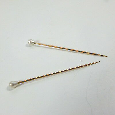 Beautiful Antique Pair of 9ct Gold and Real Pearl Veil Pins / Wedding Hair Pins