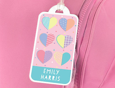 Personalised Love Hearts Name Tag for Luggage or School Bag - Bright Star Kids