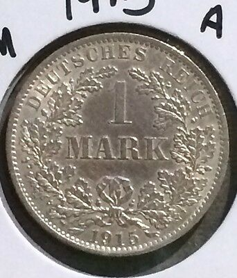 Silver Coin Germany 1915 1 Mark 'A'