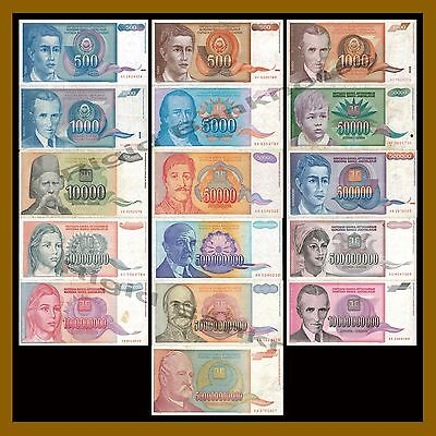 Yugoslavia 500, Thousand, Million Billion Dinara (16 Pcs Set), 1990-1994 Cir-VF