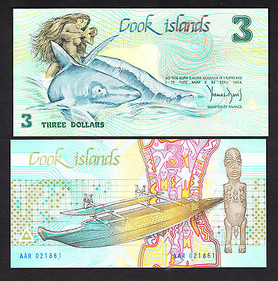 Cook Islands $3  Aitutaki 3 Dollars ND  1987 P. 3 UNC Note