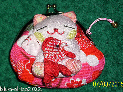 WHITE & PINK CAT COIN PURSE with FISH & Cat BELL Lined Clip fasten APPLIQUE Bag
