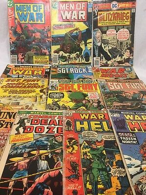 Vintage Marvel And D.C. War Comics Lot Of 13, Silver & Bronze Age - VG