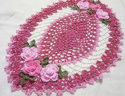 dusty rose,pink rose oval centerpiece *roses doily  by Aeshagirl
