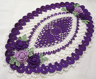 purple and white crocheted oval centerpiece *roses doily  by Aeshagirl
