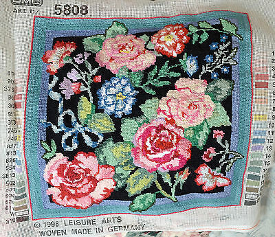 For Mountng & Framing Or For Cushion Top -  Finished Needlepoint Flower Design