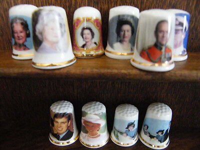 Lot  of  10  of  England's Royal  Family Fine Bone  China  collectible Thimbles
