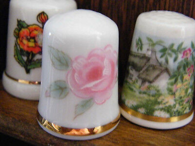 3  Flower Thimbles lot  from The Collectors Club  +  2 w/ Collectors Cards