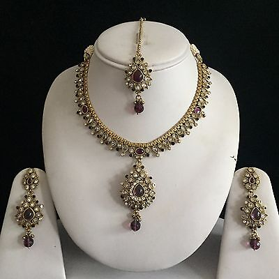 Purple Gold Vintage Victorian Mughal Costume Jewellery Necklace Earrings Set New