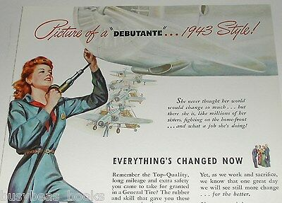1943 General Tire advertisement, Redhead Rosie the Riveter, WWII factory work