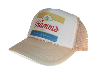 Vintage Hamm's Beer hat Trucker hat mesh hat adjustable Tan