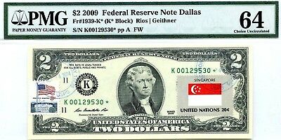 Money Us $2 Dollars Federal Reserve Star Note 2009 Flag Of Singapore Rare