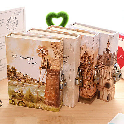 1x Notebook with Lock Box Journal Diary Book Castle Windmill Tower Notepad Gift