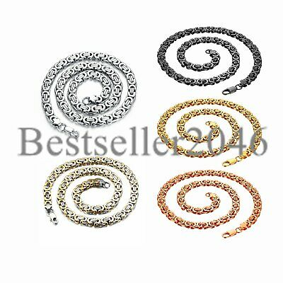 5/9MM Mens Boy Chain Byzantine Box Link Silver Gold Stainless Steel Necklace 22""