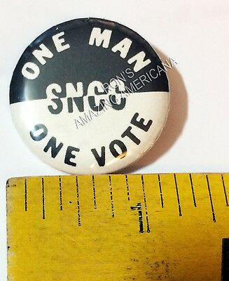 REPRODUCTION - SNCC ONE MAN - ONE VOTE - Button Pin - Civil Rights - Mid 1960s