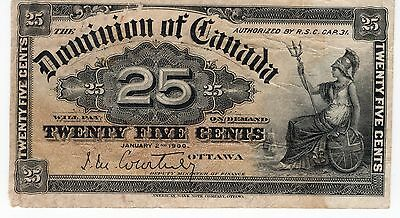 1900 Dominion of Canada Twenty Five 25 Cents Bank Note A315
