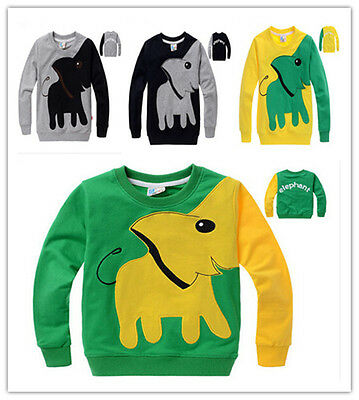 Baby Kids Boys Children Toddler Hoodies Outerwear Elephant Clothes Outfit 1-7YLA