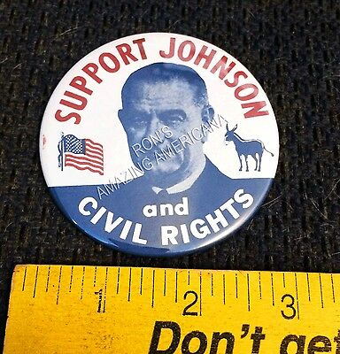 REPRODUCTION - Historic Civil Rights Button - Support Lyndon Johnson 3""