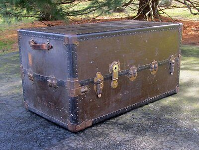 Large Shabby Vintage Antique Steamer Brown Wardrobe Flat Top Trunk Table Storage