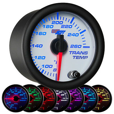 52mm GLOWSHIFT WHITE 7 COLOR LED ELECTRICAL TRANSMISSION TRANS TEMP GAUGE