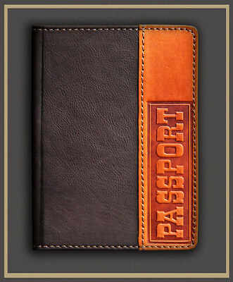 HANDMADE Genuine LEATHER PASSPORT COVER holder case Brown decorate engraving 05