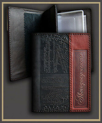 Black Genuine LEATHER Auto Documents  Passport COVER Drivers Licence HANDMADE 16