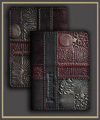 HANDMADE Genuine LEATHER PASSPORT COVER holder case BLACK flower engrawing 62