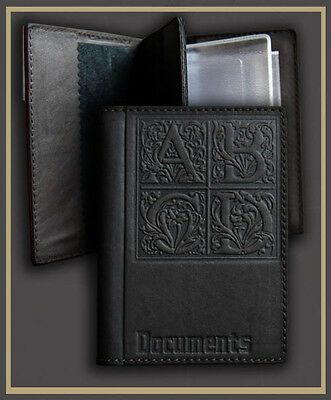 Black Genuine LEATHER Auto Documents  Passport COVER Drivers Licence HANDMADE 19