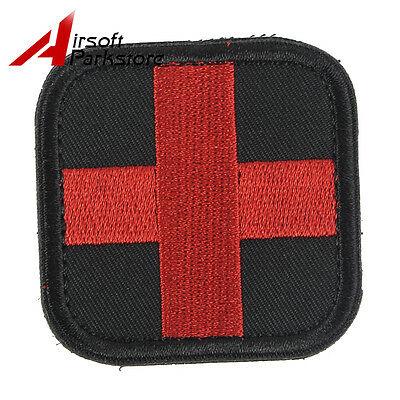 Red on Black Medic Red Cross Paramedic Hook side Patch Tactical Army Military