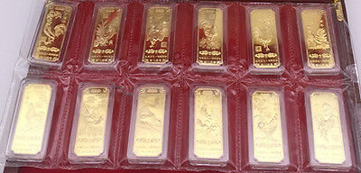 12 Pieces 2017 Chinese Zodiac 24K Gold Bar--Year of the Rooster 19mmx52mm