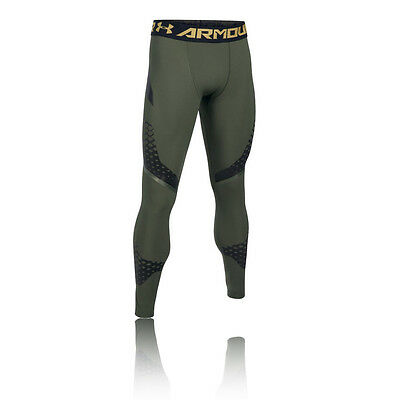 Under Armour HeatGear Zonal Mens Green Compression Gym Long Tights Bottoms