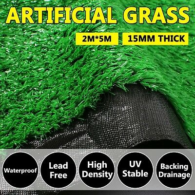 10 SQM Synthetic Artificial Grass Turf Plastic Plant Fake Lawn Flooring 15mm NEW