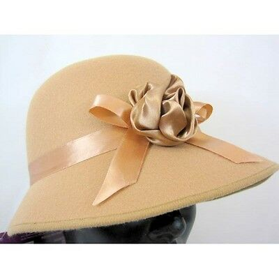 Ladies Easter 1920s Bonnet Felt Material with Flower Band Brown Adult One Size