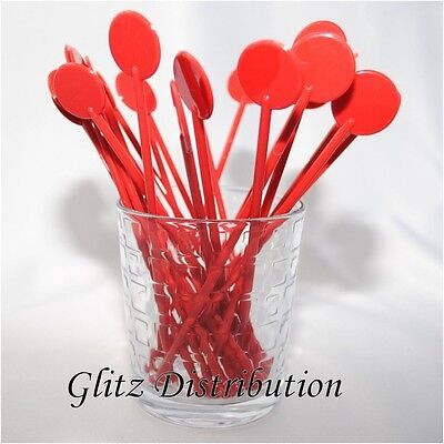 """7"""" Red Cocktail Stirrers Swizzle Sticks Discs Pack Of 10,25,50,100, 250, 500"""