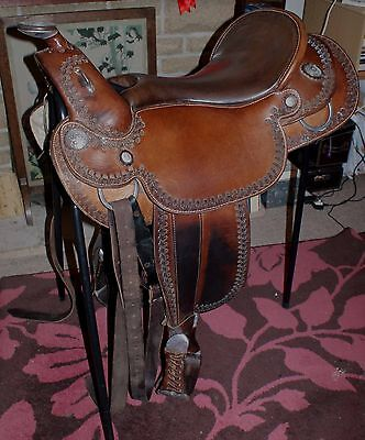 Top Of The Line Orthoflex Western Saddle Draft Tree Solid Silver Fittings 18 In