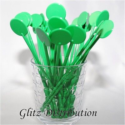 """7"""" Green Cocktail Stirrers Swizzle Sticks Discs Pack Of 10,25,50,100, 250, 500"""