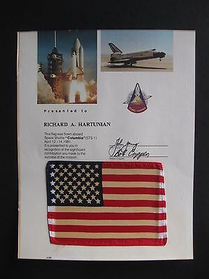 "NASA ""Columbia"" STS-1 April 12-14 1981 Space Flown American Flag Presentation"