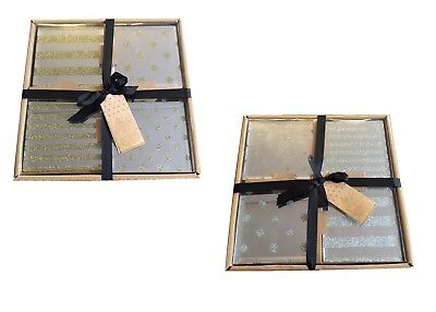 New Pack of 4 Mirror Glittered Drinks Coasters Assortment Stripes & Spots