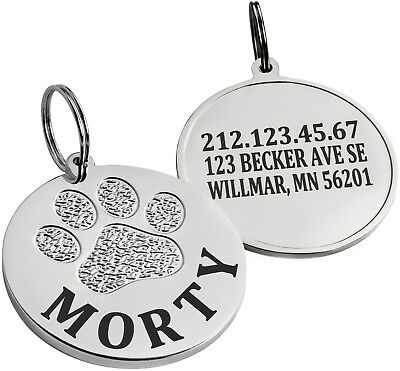 Personalized Dog Cat ID Tag Chrome Plated Puppy Name Small Large