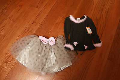 Pottery Barn Cat Kitty Costume Sz 7/8 Tutu Gray 3 piece NWT New Halloween Outfit