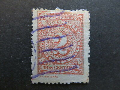 A3P25 Colombia 1908 2c Perf. 13 1/2 used #50