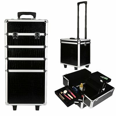 Beautify 4-in-1 Black Cosmetics Beauty Trolley Hairdressing Vanity Case Box