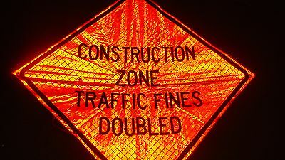 """CONSTRUCTION ZONE FINES DOUBLED  Fluorescent Vinyl With Ribs Road Sign 48"""" X 48"""""""