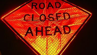 """CONSTRUCTION ZONE ROAD CLOSED   Fluorescent Vinyl With Ribs Road Sign 48"""" X 48"""""""